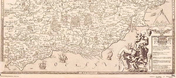 Saxton's map of Sussex made in circa 1575